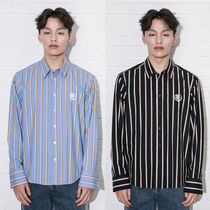 beyond closet Stripes Casual Style Unisex Street Style Long Sleeves Cotton