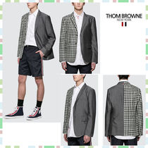 THOM BROWNE Short Gingham Wool Blended Fabrics Street Style Plain