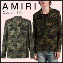AMIRI Camouflage Unisex Long Sleeves Cotton Oversized Shirts
