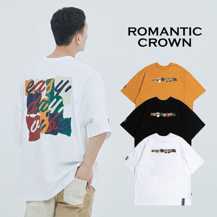 ROMANTIC CROWN Crew Neck Crew Neck Unisex Plain Cotton Short Sleeves