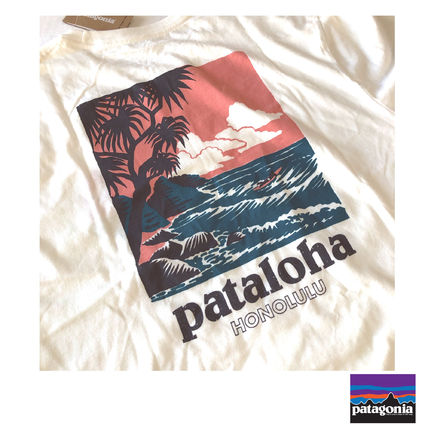 Patagonia Crew Neck Crew Neck Tropical Patterns Cotton Short Sleeves Logo 2