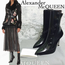 alexander mcqueen Plain Leather Pin Heels Ankle & Booties Boots