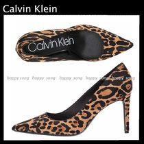 Calvin Klein Leopard Patterns Leather Pin Heels Pointed Toe Pumps & Mules
