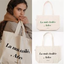 depound Casual Style Street Style A4 Plain Logo Totes