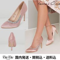 Chi Chi London Blended Fabrics Plain Pin Heels Party Style With Jewels