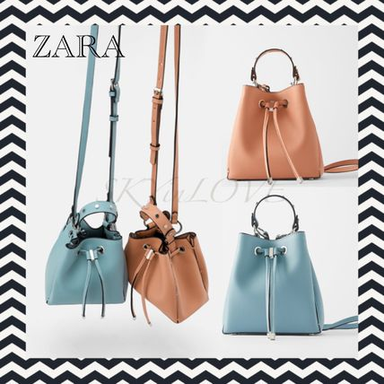 Casual Style Studded Plain Purses Shoulder Bags