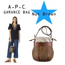 A.P.C. Blended Fabrics 2WAY Leather Straw Bags