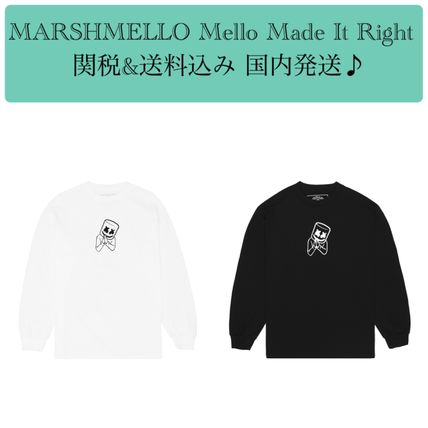 Crew Neck Unisex Long Sleeves Cotton Logos on the Sleeves