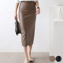 Pencil Skirts Faux Fur Plain Medium Elegant Style