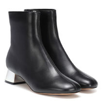 MARNI Square Toe Plain Leather Block Heels Ankle & Booties Boots
