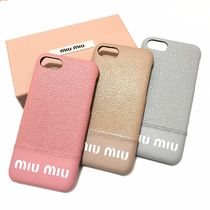 MiuMiu MADRAS Plain Leather Smart Phone Cases