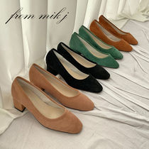 Suede Plain Party Style Chunky Heels