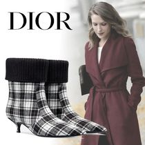 Christian Dior Tartan Blended Fabrics Elegant Style Ankle & Booties Boots