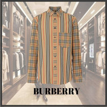 Burberry Button-down Stripes Other Check Patterns Long Sleeves Cotton