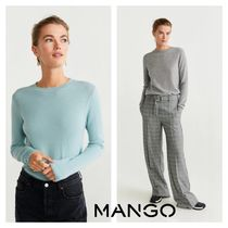 MANGO Crew Neck Cashmere Rib Long Sleeves Plain Cashmere