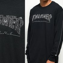 THRASHER Long Sleeves Cotton Logos on the Sleeves