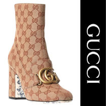 GUCCI GG Marmont Flower Patterns Mid Heel Boots