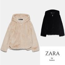 ZARA Faux Fur Medium Cashmere & Fur Coats