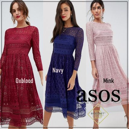 ASOS Dresses Crew Neck Flared Long Sleeves Plain Medium Party Style Lace