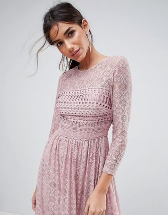 ASOS Dresses Crew Neck Flared Long Sleeves Plain Medium Party Style Lace 3