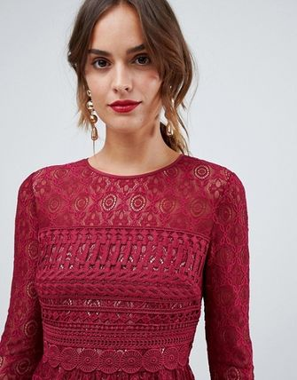 ASOS Dresses Crew Neck Flared Long Sleeves Plain Medium Party Style Lace 9
