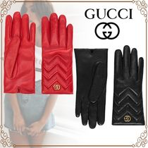 GUCCI Cashmere Plain Leather Leather & Faux Leather Gloves