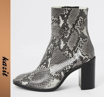 River Island Casual Style Leather Python Ankle & Booties Boots