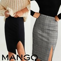 MANGO Pencil Skirts Other Check Patterns Plain Medium Midi Skirts