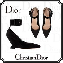 Christian Dior Suede Plain Leather Elegant Style Wedge Pumps & Mules