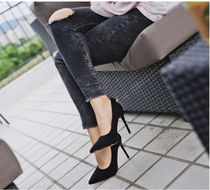 Square Toe Suede Plain Pin Heels Office Style