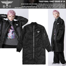 BOY LONDON Unisex Street Style Plain Long MA-1 Bomber Jackets
