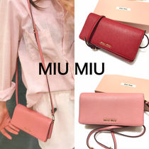 MiuMiu MADRAS 2WAY Plain Leather Elegant Style Crossbody Logo