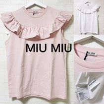 MiuMiu Sleeveless U-Neck Plain Cotton Medium Logo Tanks & Camisoles