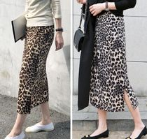Leopard Patterns Cotton Long Elegant Style Maxi Skirts