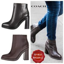 Coach Round Toe Casual Style Studded Street Style Plain Leather