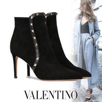 VALENTINO Suede Studded Plain Pin Heels Ankle & Booties Boots