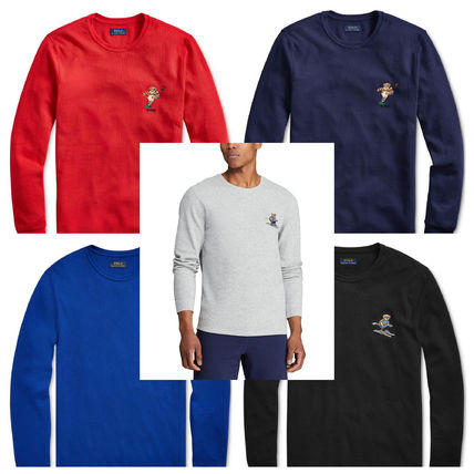Crew Neck Pullovers Long Sleeves Plain Long Sleeve T-Shirts