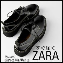 ZARA Platform Casual Style Plain Loafer Pumps & Mules