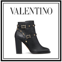 VALENTINO Studded Plain Block Heels Ankle & Booties Boots