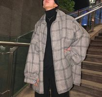 Gingham Other Check Patterns Wool Street Style Oversized