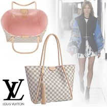 Louis Vuitton DAMIER AZUR Canvas Blended Fabrics Tassel A4 2WAY Office Style Totes