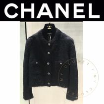 CHANEL ICON Cashmere Street Style Long Sleeves Plain Handmade