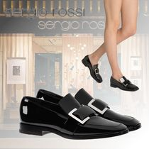 Sergio Rossi Square Toe Plain Leather Block Heels Elegant Style
