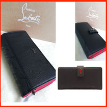 Christian Louboutin Paloma Unisex Plain Leather Folding Wallet Logo Long Wallets
