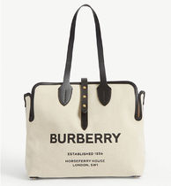 Burberry Casual Style Unisex Canvas Logo Totes