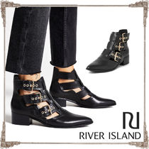River Island Plain Leather Block Heels Elegant Style