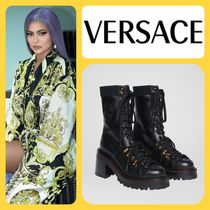 VERSACE Round Toe Rubber Sole Leather Elegant Style