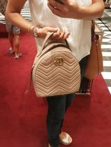 GUCCI GG Marmont Plain Leather Elegant Style Backpacks