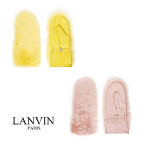 LANVIN Cashmere Plain Leather Leather & Faux Leather Gloves