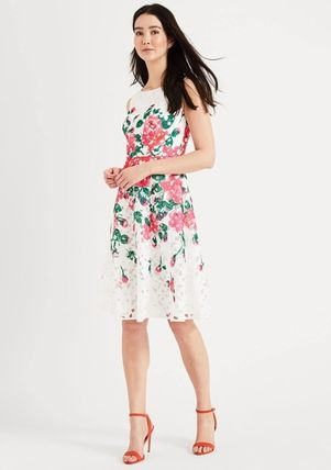 Flower Patterns Tight Sleeveless Plain Medium Party Style